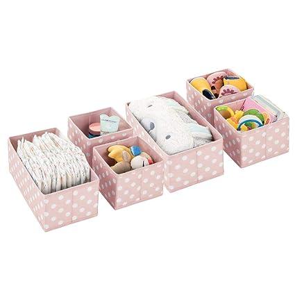 MetroDecor mDesign Juego de 6 Cajas de almacenaje para Habitaciones Infantiles o baños – Cestas organizadoras
