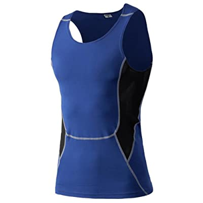Kingswell Men's Pro Sport Quick Dry Tights Vest Compression Tank Tops Running Shirt -Blue