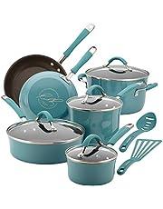 Rachael Ray 16344 Cucina Hard Porcelain Enamel Nonstick Cookware Set, 12-Piece, Agave Blue
