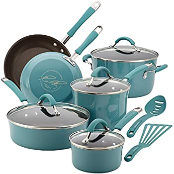 Rachael Ray 16344 12-Piece Aluminum Cookware Set, Agave Blue