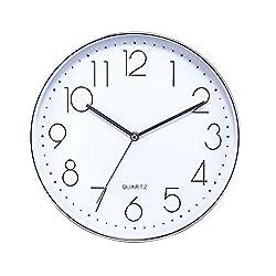 Jinberry 12 (30 cm) Minimalist Silent Sweep Wall Clock with Super Slim Frame / Non Ticking Digital Modern Stylish Classic Quartz Round Clock - Silver (Arabic Numerals 01)