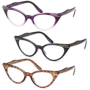 GAMMA RAY 3pk Womens Cat Eye Vintage Reading Glasses - 1.50 Magnification