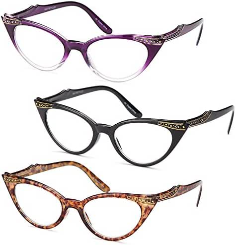 GAMMA RAY READERS 3 Pairs Ladies' Vintage Cat Eye Readers Quality Reading Glasses for Women - With +1.75 Magnification
