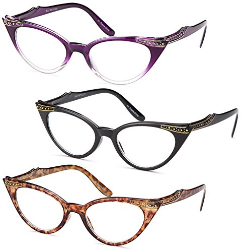 Gamma Ray Women's Reading Glasses - 3 Pairs Cat Eye Ladies Fashion Readers 1.75 ()