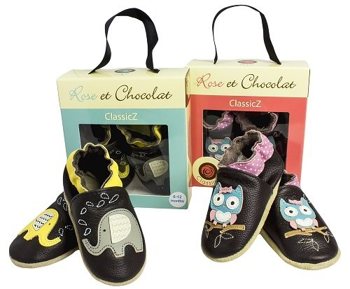 Rose & ChocolatRCC Elephant Kiss - pantuflas de aprendizaje Bebé-Niños Marrón (brown)