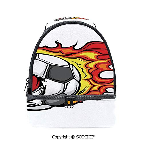 (SCOCICI Large Capacity Durable Material Lunch Box Cartoon Image of a Flaming Soccer Ball with Aggressive Angry Mean Face Multipurpose Adjustable Lunch Bag)