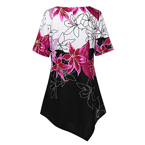 TnaIolral Women T-Shirt Flowers Printing Short Sleeve Summer Tops Blouse Hot Pink by TnaIolral (Image #3)