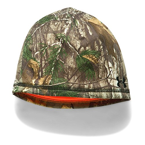 Under Armour Men's Reversible Fleece 2.0 Beanie, Realtree Ap-Xtra/Blaze Orange, One Size