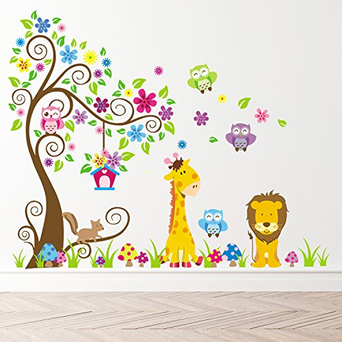 Removable Creative 3D Jungle Theme Wall Decals Colorful Owl Giraffe Lion Tree Kids Room Wall Decorations Art Decor Stickers Nursery Decor 3D Art Decal Bedroom Bathroom ()
