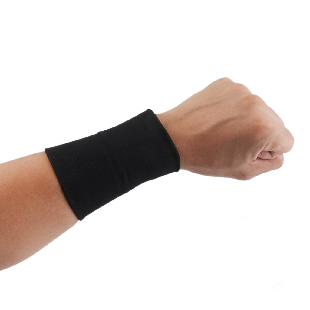 1 Pair of Elastic Wrist Hand Support Braces Carpal Tunnel Tendonitis Relief M, Black