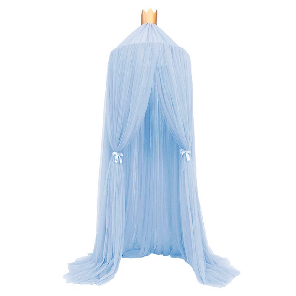 Per Children Dome Fantasy Netting Curtains Play Tent Bed Canopy Mosquito Net with Round Lace Baby Boys Girls Game House(Sky Blue)