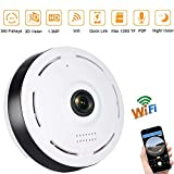 Fisheye Security Camera 360 Degree 960P Wireless Panoramic IP Camera 1.3 Megapixel HD Video Surveillance Hidden Monitoring with Night Vision 2 Way Audio Wide Angle 3D View for Home by ISEC