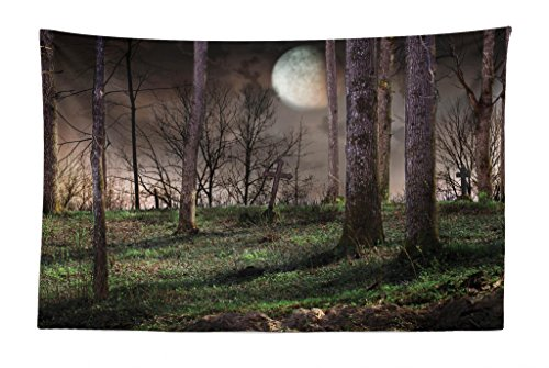 Lunarable Gothic Tapestry, Dark Night in The Forest with Full Moon Horror Theme Grunge Style Halloween, Fabric Wall Hanging Decor for Bedroom Living Room Dorm, 45 W X 30 L -