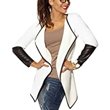 Imixshopcs Women's Irregular Jacket Blazer PU Leather Sleeve Splice Knitwear Cardigan Coat Outwear (One Size, White)