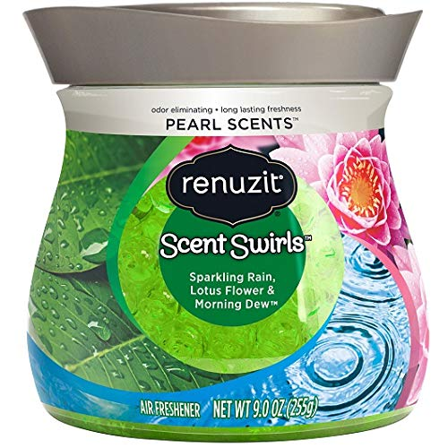 Renuzit Pearl Scents Air Freshener, Sparkling Rain, Lotus Flower & Morning Dew, 9 Ounces, Count of 4 (Packaging May Vary)