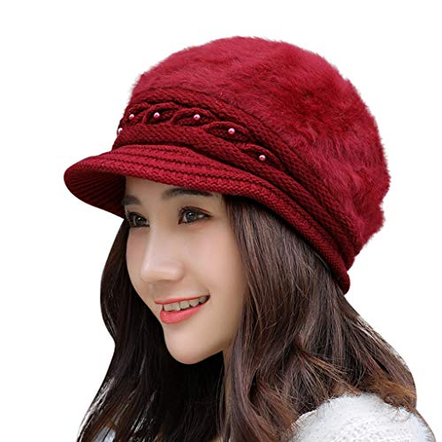 LIULIULIUWomen Winter Cotton Beret Hat Plush Knit Beanie Slouch Ski Cap (Wine) ()