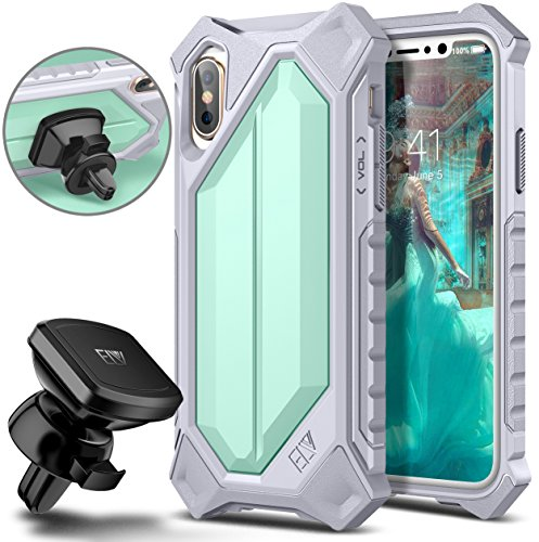 iPhone X Case, ELV iPhone 10 Case High Impact Resistant Rugged Armor Hybrid Full Body Protective Case Cover for Apple iPhone X [Wireless Charging Not Compatible] (Mint/Grey)