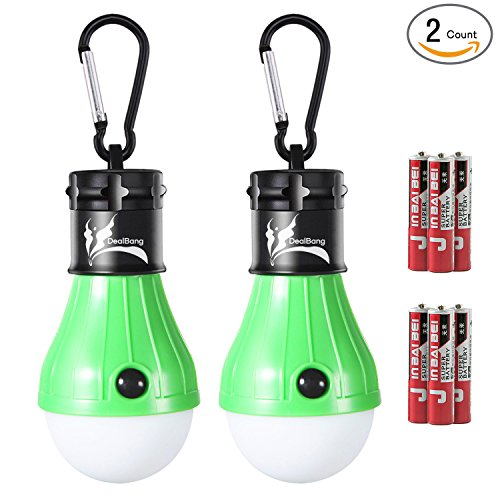 LED Tent Light Bulb with Clip Hooks, Small But Bright 150 Lumens LED Hanging Night Light for Kids, Battery Powered Gear Light Bulb (Green,2-Pcs)