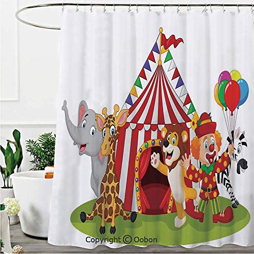 Oobon Shower Curtains, Cartoon Happy Animal Circus and Clown Zebra Giraffe Animals Lion Nostalgia, Fabric Bathroom Decor Set with Hooks, 72 x 78 Inches