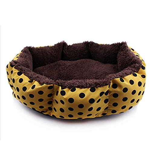 Zehui Pets Cushion Kennels Mat For Small Dogs Puppy Cats Pet Bed Dog Cat Soft Cotton Fleece Dot Warm Nest House Yellow Coffee
