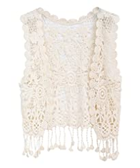 ZHUANNIAN Little Girl's Crochet Vest wit...