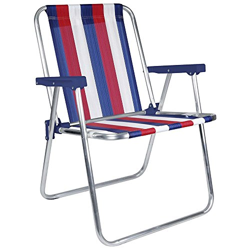 MOR Aluminum Beach Chair - 1 Position - (Pack of 1) - (Blue, White & Red Stripe) by MOR EUA LLC