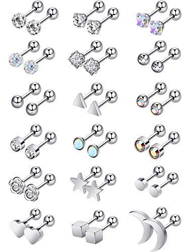 Kerrian Online Fashions 51d7-B7qPpL 18 Pairs Stainless Steel Stud Earrings Solid Rhinestone Earring Cartilage Earrings Helix Ear Piercing Jewelry