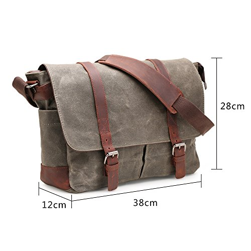 Canvas Shoulder nero Unisex Nero Work Bags Canvas laptop andybag Crossbody pollici H 15 Fit Waxed 4EXqOT