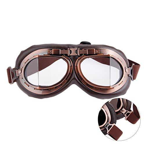 MUXSAM Helmet Steampunk Vintage Goggles Sunglasses Eyewear for Outdoor Sports Motocross Racer