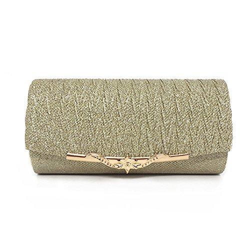 con oro esplosioni Europa raso da America moda in donna Morbida metallizzato con da sera colore e in borsa Borsa di sera pochette da YFwxBC6q