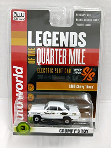 Auto World SC319 Legends of the Quarter Mile Grumpy's Toy 1966 Chevy Nova Super Stock HO Scale Electric Slot Car from Auto World