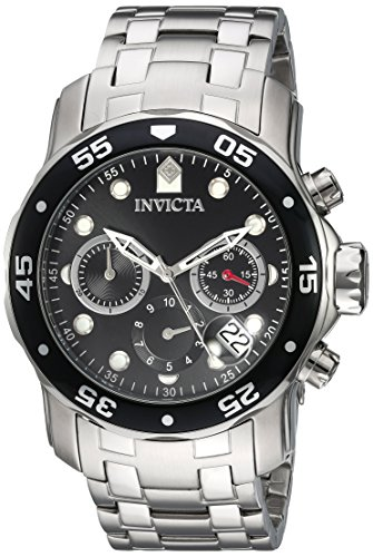 Chronograph Stainless Steel Ring (Invicta Men's 'Pro Diver' Quartz Stainless Steel Watch, Color:Silver-Toned (Model: 21920))