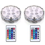 Anfukone Submersible LED Lights with RemoteControl Underwater Waterproof Multicolor Lamp for Party Home Decoration 2 PC