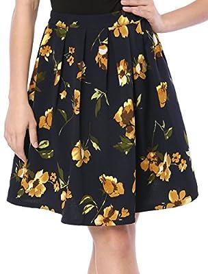 Allegra K Women's Pleated Detail A-Line Floral Skirt