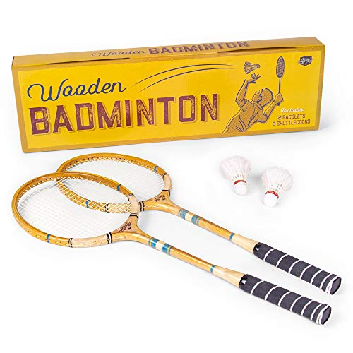 Crown Sporting Goods Vintage Wooden Badminton Set | Classic Outdoor Lawn Game for Backyard Family Fun | Includes 2 Solid Wood Racquets and Premium Feather Shuttlecocks