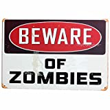 Beware of Zombies Metal Sign Tin Signs Retro Shabby Wall Plaque Metal Poster Plate 20x30cm Wall Art Coffee Shop Pub Bar Home Hotel Decor