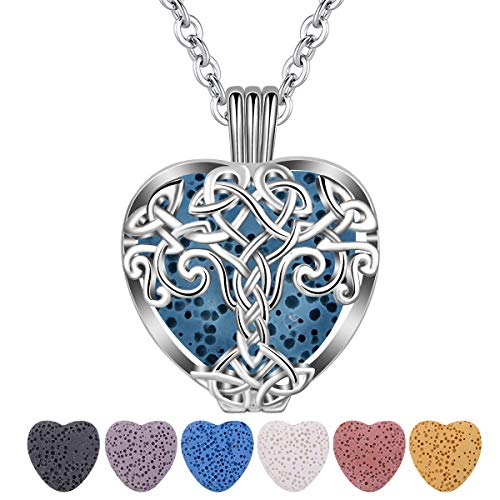 CELESTIA Essential Oil Lava Stone Diffuser Necklace, Tree of Life Heart Aromatherapy Locket Pendant with 7 Reusable Coloured Lava Stones - 24