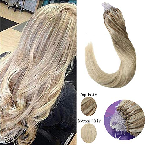 LaaVoo 16inch Micro Loop Hair Extensions Human Hair Straight Micro Ring Balayage Ash Blonde to Medium Blonde Mixed Platinum Blonde Silicone Micro Beads Stick Tip Hair Extensions 50g/50s#18/22/60 (Weave Micro Loop Hair)