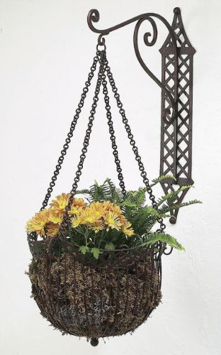 Open Lattice Iron Hanging Basket Bracket Set | Wall Planter Outdoor by Intelligent Design