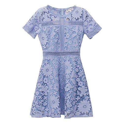 Jupe parfum blue long Personnage Un Robe Dentelle Vent Long sleeved Haute Bleu fe MiGMV Petit temprament Robe en sleeves Taille Le qPAUUZ