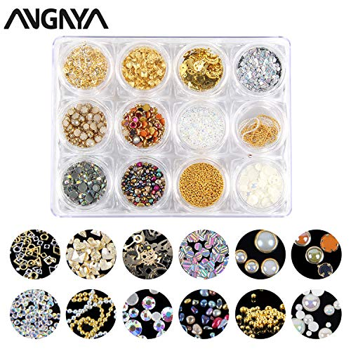 ANGNYA Mixed Nail Art Rhinestones - 12 Wheels Crystal Rhinestones Set Glitter Diamonds Crystals Beads Mixed Colorful Gems Gold Nail Metal Rivets Hollow Moon Star Triangle Shaped DIY 3D Nail Art Decora