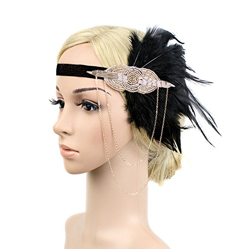 [Black Gold Headbpiece Vintage 1920s Headband Flapper Great Gatsby (champagne and blakc)] (1920s Flapper Hairstyles)