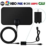 TV Antenna Indoor Amplified Digital HDTV Antenna 50 Mile Range with Detachable Amplifier Signal Booster and 13.2FT High Performance Coaxial Cable for Digital Freeview