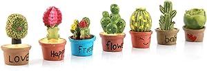 Haofy Tiny Cactus Flowers Succulent Plants Pot Plant Toys,Lovely Cactus Dollhouse Miniature Plants Figurines Fairy Garden Terrarium Supplies Ornaments Decoration for for Dollhouse Supplies