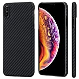 PITAKA Slim Case Compatible with iPhone Xs Max 6.5', MagCase Aramid Fiber [Real Body Armor Material] Phone Case,Minimalist Strongest Durable Snugly Fit Snap-on Case - Black/Grey(Twill)