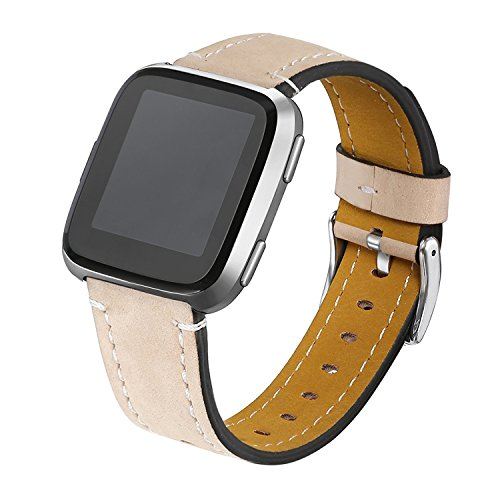 bayite Bands Compatible Fitbit Versa, Genuine Leather Wristband Accessories Replacement Fitness Strap for Versa Women Men, Beige