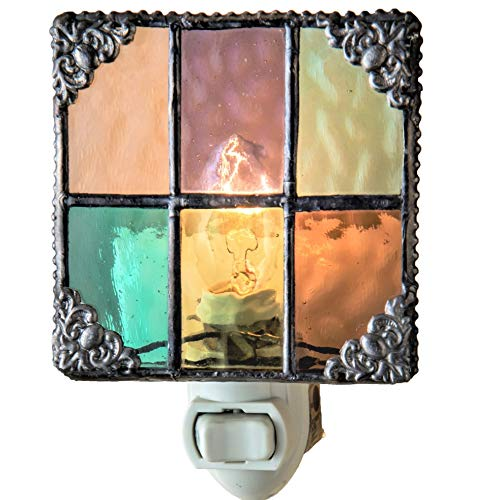 J Devlin NTL 165 Multi Colored Stained Glass Night Light Peach Purple Green Aquamarine Amber Burgundy Decorative Home Accent Lite (Art Glass Night Light)