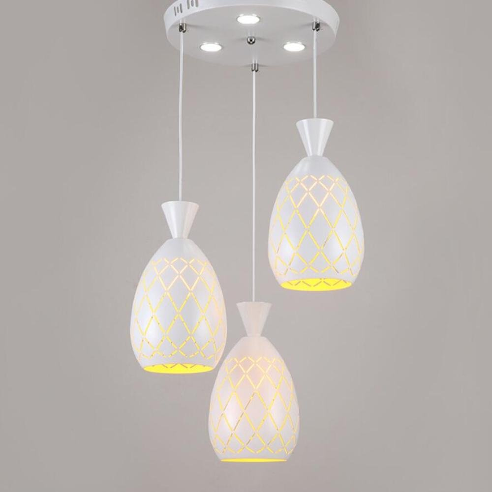 GL&G Light Iron simple three-head Chandelier Pendent Light for Hallway,Bedroom,Kitchen,Kids Room Lamps,LED Bulb Included, Warm White Light,3 head,1627cm
