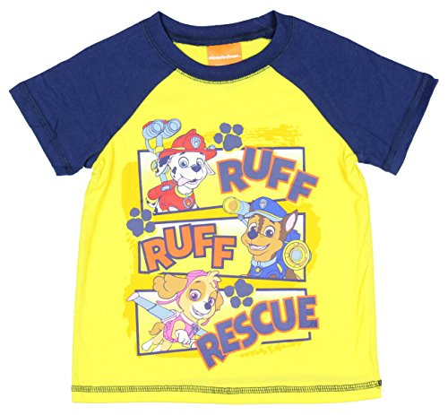 Paw Patrol Little Boys' Ruff Rescue Ringer Tee (Yellow Kids Ringer T-shirt)