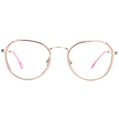 fcf5b1d3ce49 Slocyclub Women Round Optical Eyeglasses Metal Frames Pink Rim Eyewear  Clear Lens